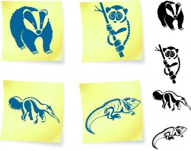 Animal drawings on post
