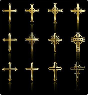 religious golden cross design collection