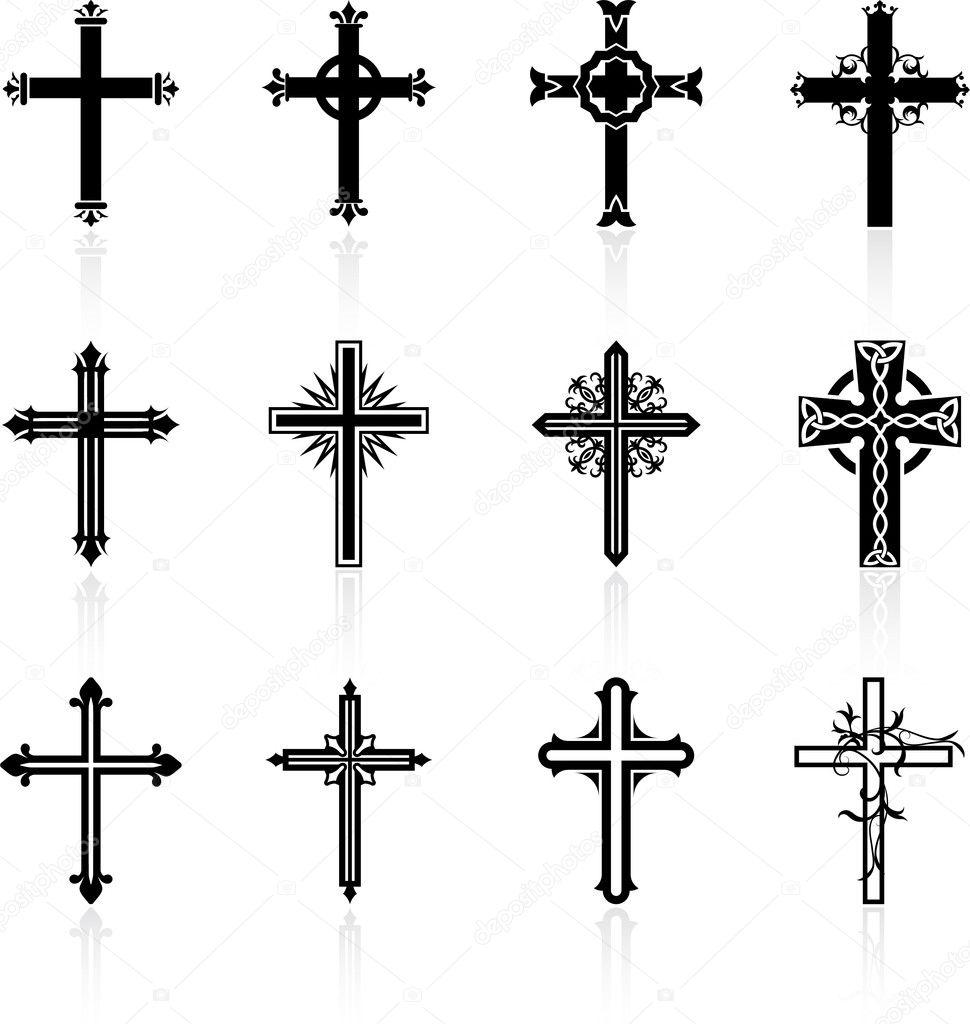 Croix Religieuses collection design croix religieuse — image vectorielle iconspro
