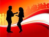 sexy junges Paar tanzt auf Sommerparty Hintergrund