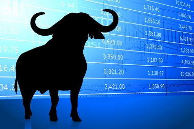 bull on stock market background