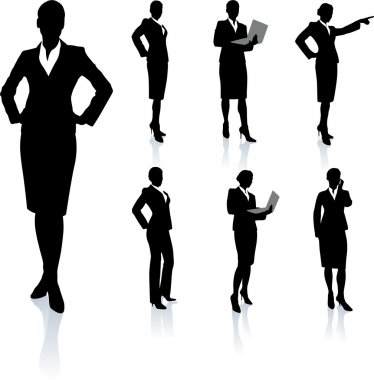 Businesswoman Silhouette Collection\rOriginal Vector Illustration Silhouette Sets stock vector
