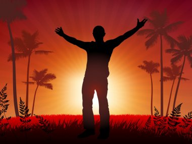 free man on sunset background