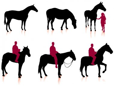 Horse and Jockey Silhouette Set