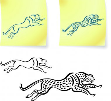 Jaguar and leopard drawings on post it notes