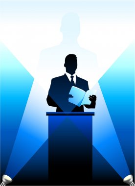 Business-political speaker silhouette background AI8 compatible