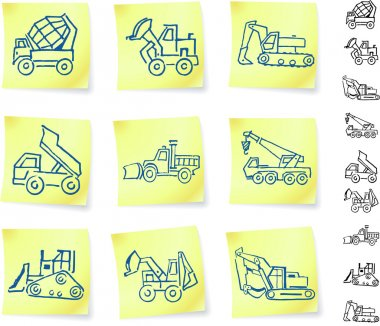 Construction Vehicles on Post It notes