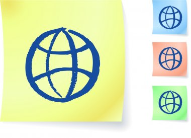 Globe graphic on sticky note