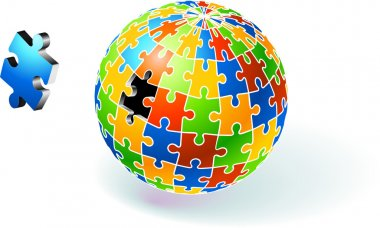 Incomplete Multi Colored Globe Puzzle