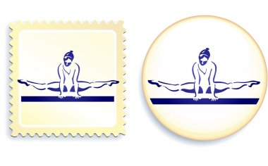 Gymnast on button and stamp set