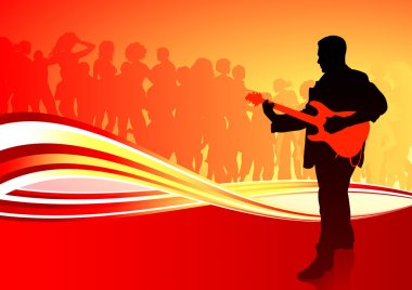 Guitar player on red abstract background