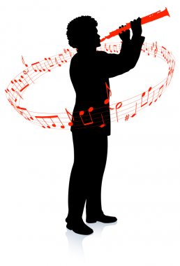 Clarinet Player with Musical notes