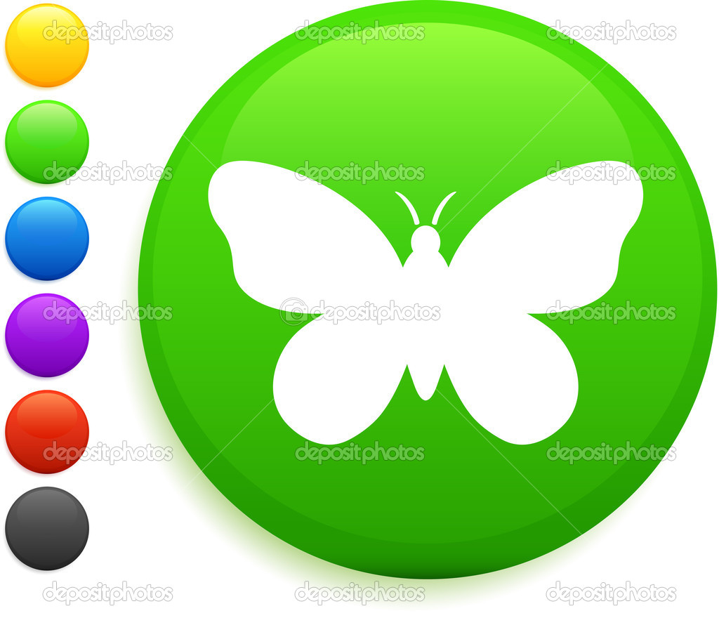 butterfly icon on round internet button u2014 stock vector iconspro