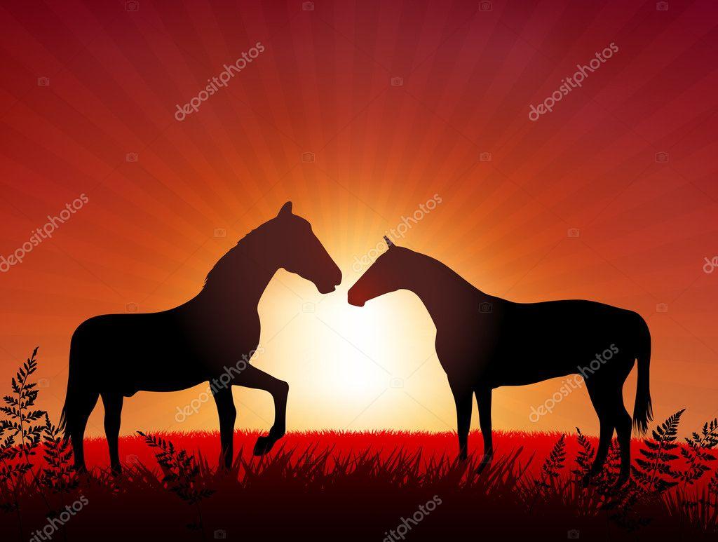 Berühmt Pferde auf Sonnenuntergang Hintergrund — Stockvektor © iconspro #FN_71