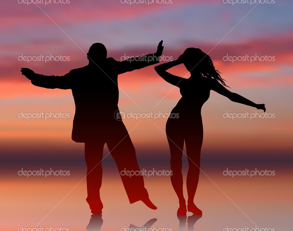 Original Vector Illustration: Man and woman dancing on summer sunset background AI8 compatible clipart vector