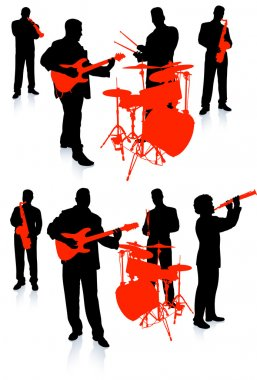 Live band playing music on white background