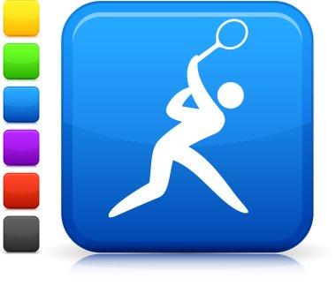 tennis icon on square internet button