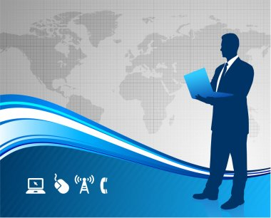 Business executive on global communication background