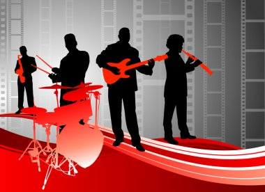 Live music band on abstract film background