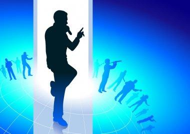 karaoke singer on musical blue background