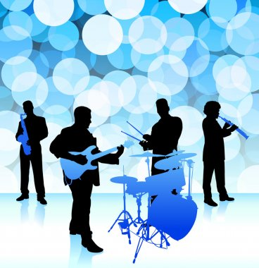 live music band on lens flare internet background