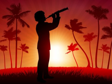 live clarinet performer on tropical red background