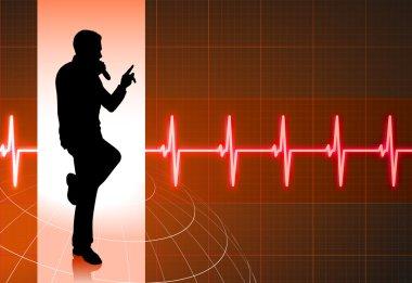 karaoke singer on musical red background