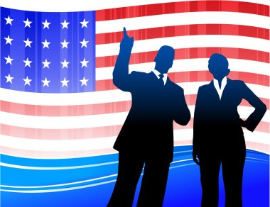 Business team on Patriotic American Flag background
