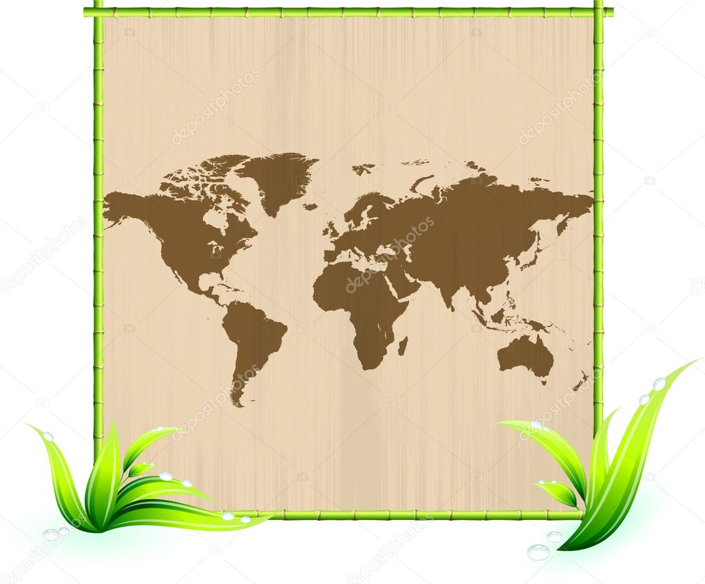 weltkarte auf zerkratzt papier in grün bambus-bilderrahmen ...