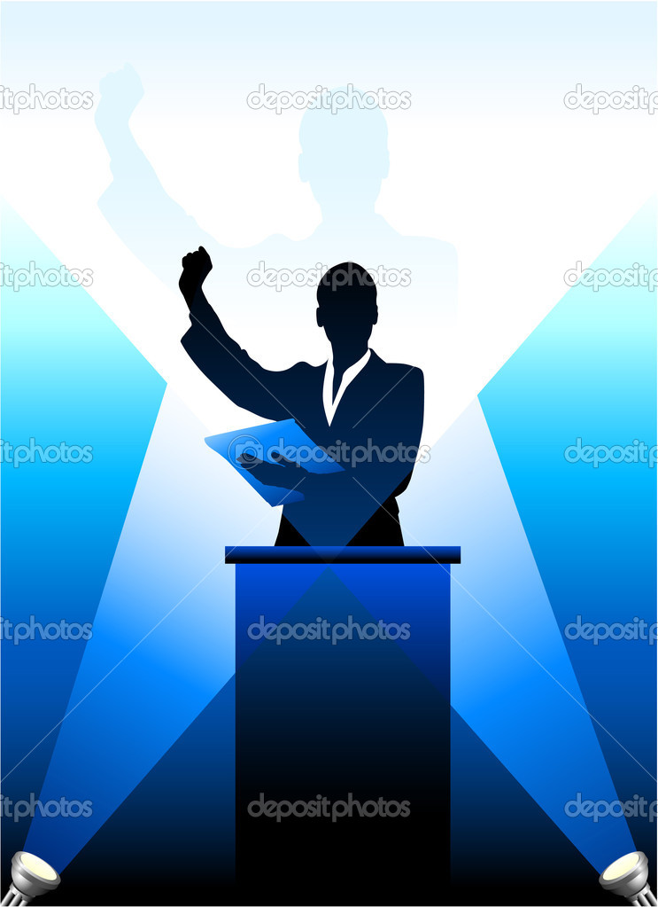 Business-political speaker silhouette behind a podium