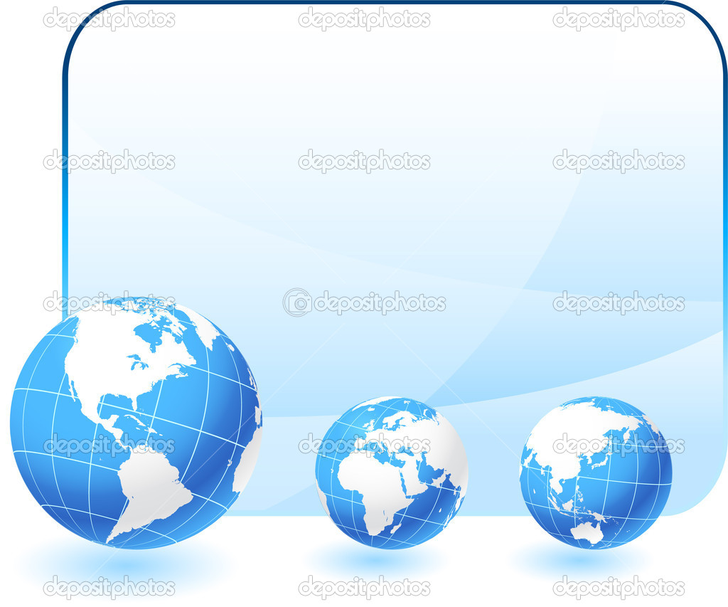 Globes on blank internet background