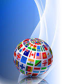 Fotografie Flag Globe on Abstract Color Background