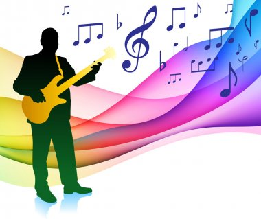 Guitar Player on Musical Note Color SpectrumOriginal Vector Illu