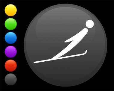 ski jumping icon on round internet button