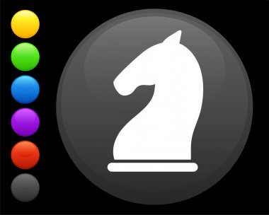 knight chess piece icon on round internet button