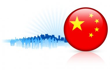China Internet Button with Skyline Background