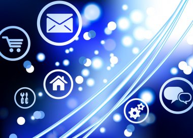 Fiber Optic cable internet background with online icons and butt