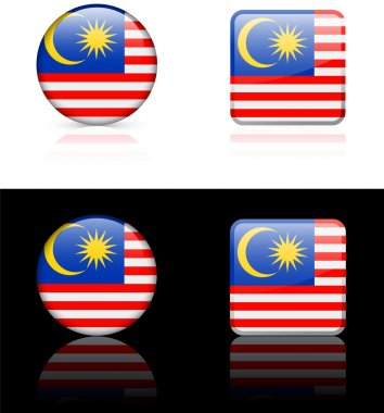 malaysia Flag Buttons on White and Black Background