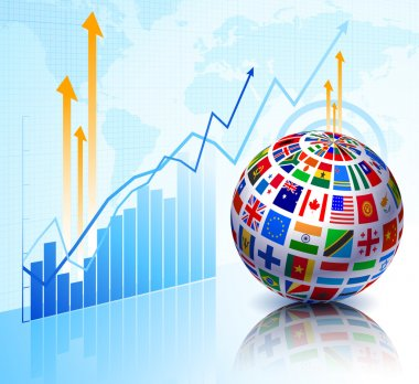 Flags Globe on Stock background