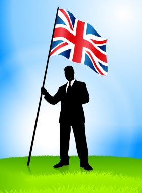 Businessman Leader Holding British Flag
