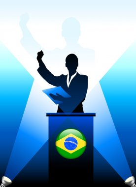 Brazil Leader Giving Speech on Stage
