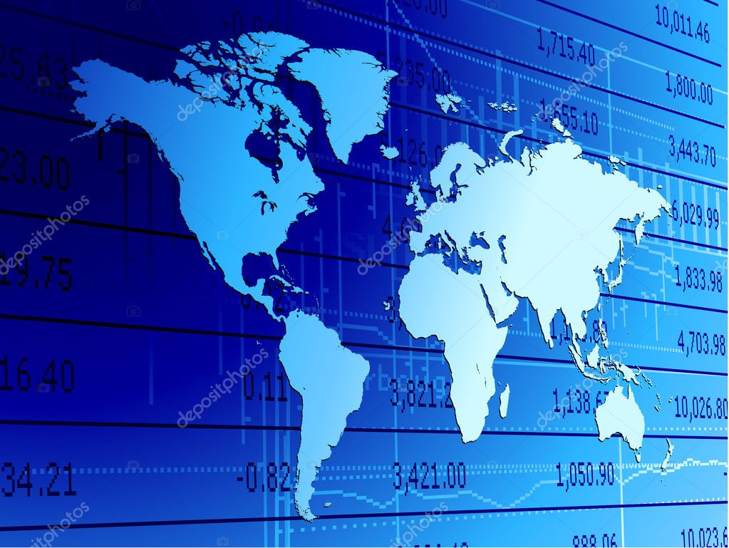 Global economy world map background.