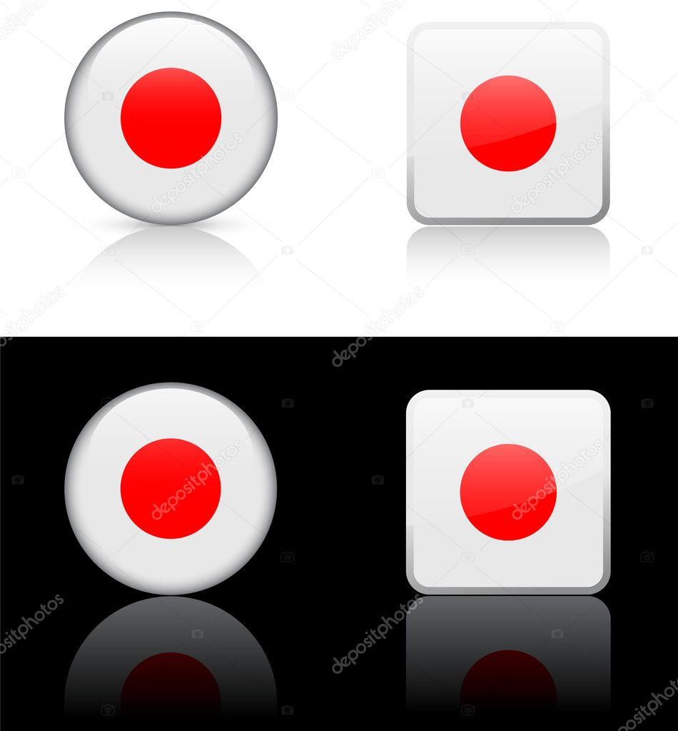 japan flag buttons on white and black background u2014 stock vector