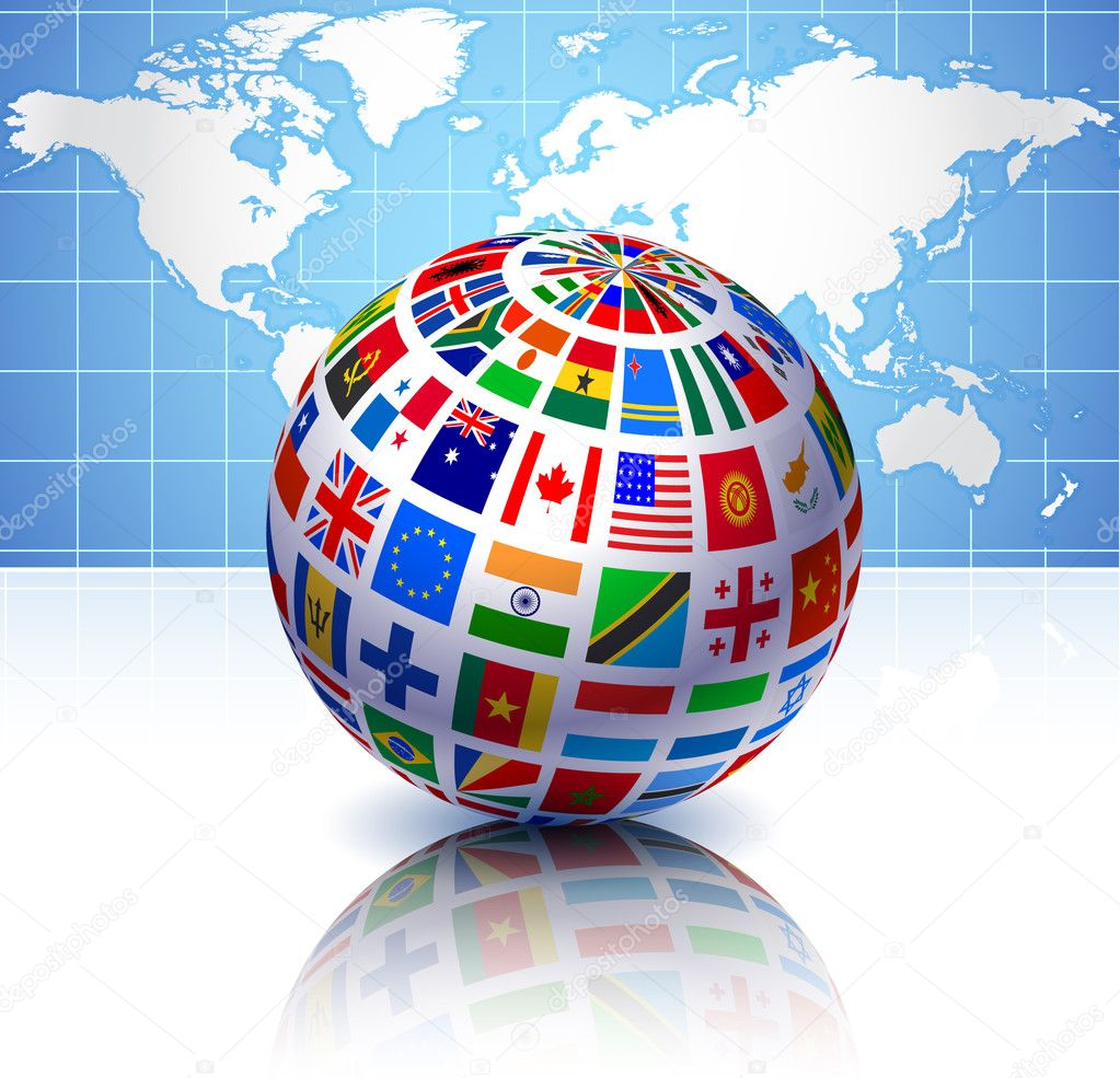 Flags globe with world map stock vector iconspro 6507586 flags globe with world map original vector illustration vector by iconspro gumiabroncs Images