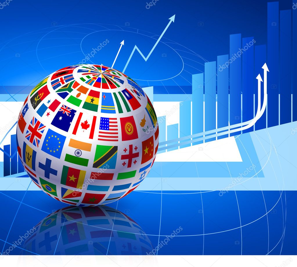 Finance Background: Flags Globe On Financial Background