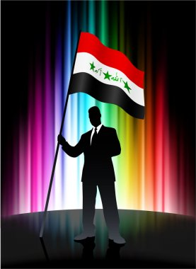 Iraq Flag with Businessman on Abstract Spectrum Background