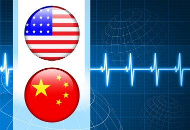 United States and china Flag Internet Buttons on pulse Backgroun