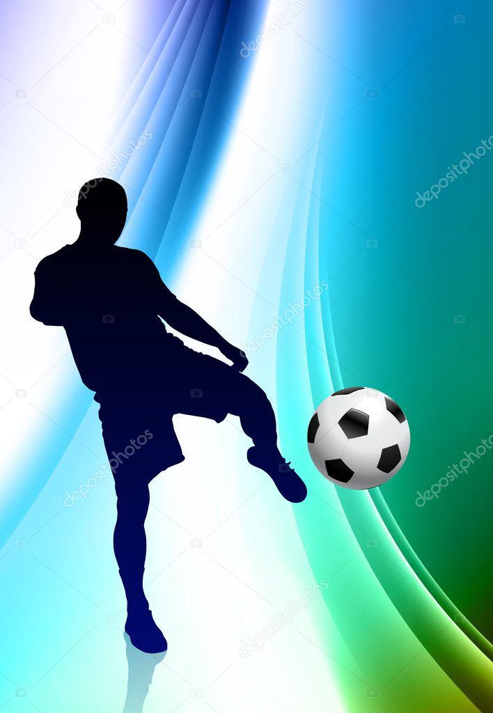 jugador de fútbol sobre fondo de color abstracto — Archivo Imágenes ...