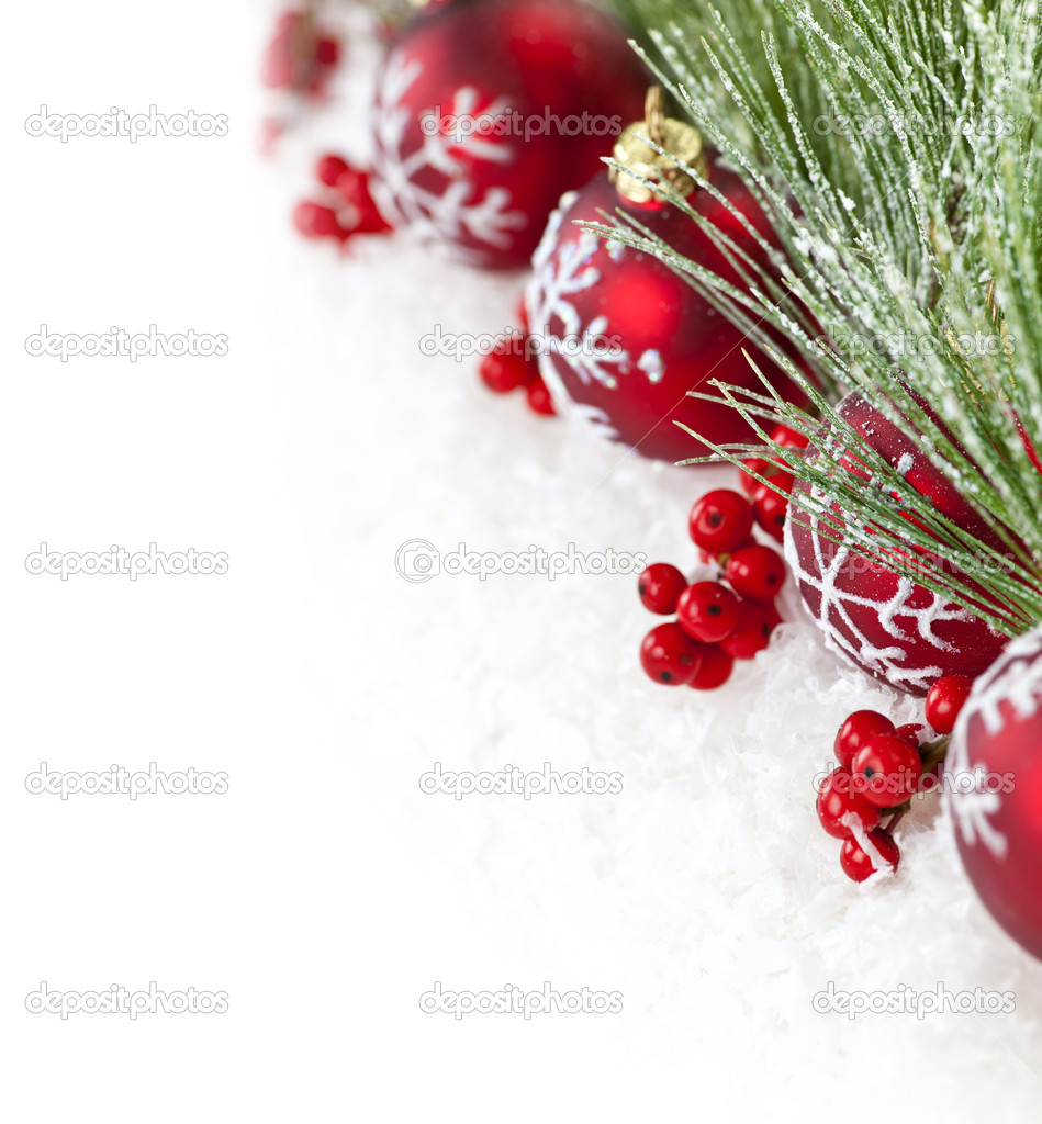 Red Christmas Ornaments Border Stock Photo