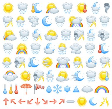 The collection of different weather icons, arrows for wind direction and weather icon parts to create Your own icons. stock vector